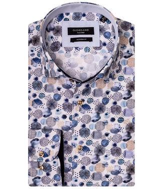 Giordano Tailored wit met beige blauw donkerblauw print met bruine knopen
