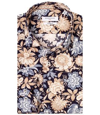 Giordano Blue donkerblauw met beige-bruin-lichtblauw grote bloemenprint