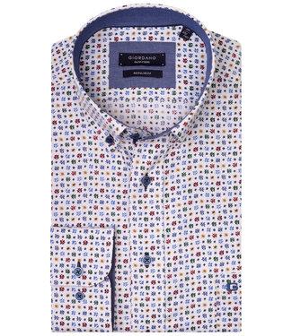 Giordano Regular Fit wit met tutti colori print blauw-groen-rood-okergeel met donkerblauwe knopen