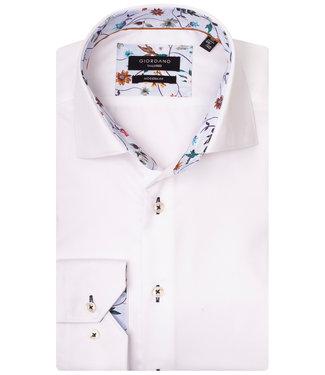Giordano Tailored wit met bloemencontrast aan de binnenkant van de boord en manchetten