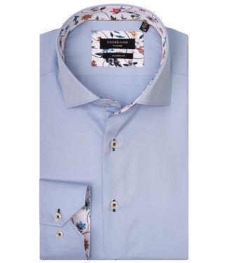 Giordano Tailored lichtblauw met bloemencontrast aan de binnenkant van de boord en manchetten