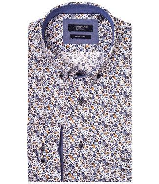 Giordano Regular Fit wit met beige blauw lichtblauw bloemenprint