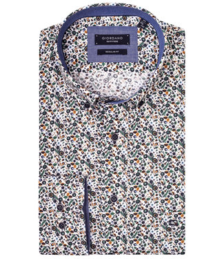 Giordano Regular Fit wit met beige groen bloemenprint
