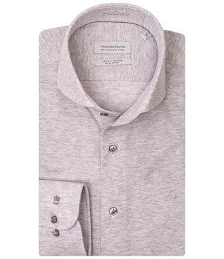 Thomas Maine lichtgrijs knitted overhemd