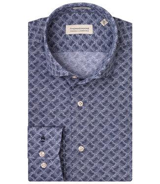 Thomas Maine jersey geometric print blauw donkerblauw