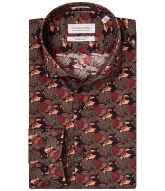 Thomas Maine tutti colori klaprozen print bruin-taupe-rood-roodroze met bruine knopen