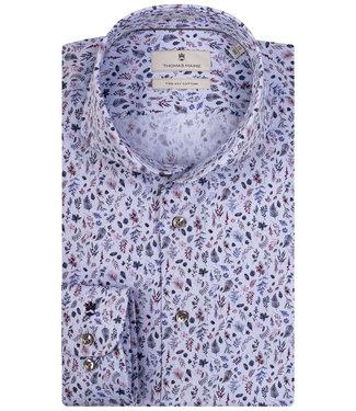 Thomas Maine lichtblauw met tutti colori blauw-paars-donkerblauw takjes print