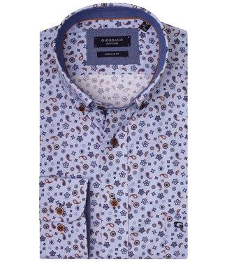 Giordano Regular Fit lichtblauw oxford met donkerbruin-donkerblauw bloemen en paisley print