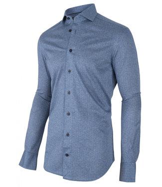 Cavallaro jersey heren overhemd blauw visgraat met donkerblauwe knopen