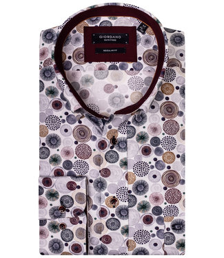 Giordano Regular Fit wit met grote speciale circle en rondjes print in de kleuren aubergine-bruin-donkerblauw-grijs