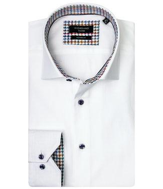 Giordano Tailored wit met ingeweven structuur met donkerblauwe knopen