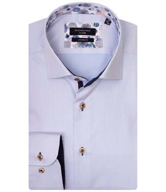 Giordano Tailored lichtblauw met bollen print aan de binnenkant van de boord en manchetten met bruine knopen