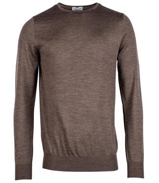 Thomas Maine trui 100 procent merino wol bruin taupe 14gg single knit