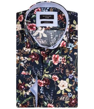 Giordano Tailored donkerblauw tutti colori multicolour bloemenprint