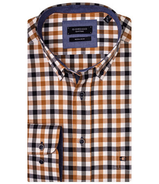 Giordano Regular Fit donkerblauw-brique-wit ruit