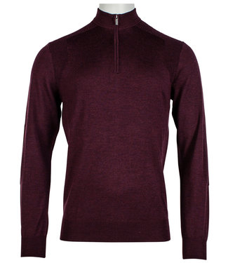 Thomas Maine heren zipper 100 procent merino wol bordeaux rood 14gg