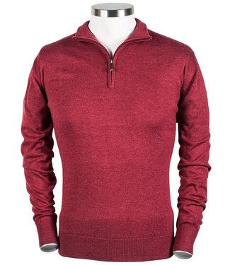 Baileys heren zipper trui met ritsje rood bordeaux rood