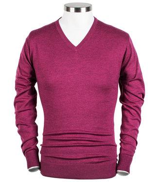 Thomas Maine cerise roze v-hals trui 12gg single knit 100 procent merino wool