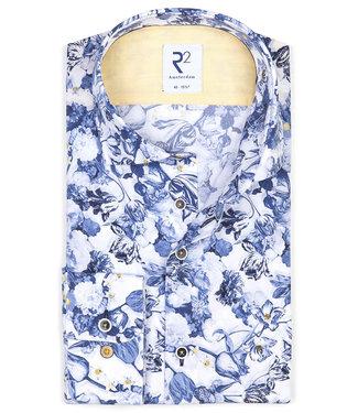 R2 Amsterdam heren overhemd Delfsblauwe bloemenprint met gele details