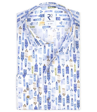 R2 Amsterdam heren overhemd wit met tutti colori grachten print