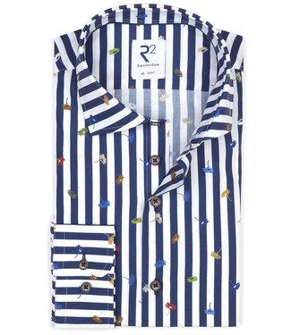 R2 Amsterdam donkerblauw-wit streep met tutti colori bloemetjes