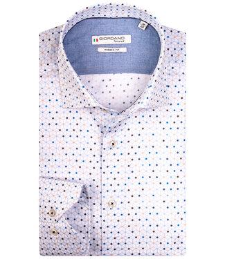 Giordano Tailored wit met beige-blauw-bruin grafische print