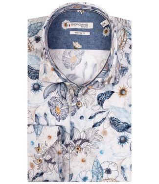 Giordano Tailored wit met beige blauw donkerblauw bloemenprint