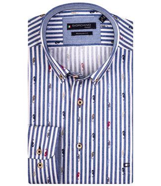 Giordano Regular Fit blauw-wit streep met zeepaardjes print
