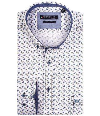 Giordano Regular Fit wit met beige-groen-aqua-blauw-donkerblauw print