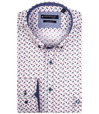 Giordano Regular Fit wit met beige-rood-lichtblauw-donkerblauw print