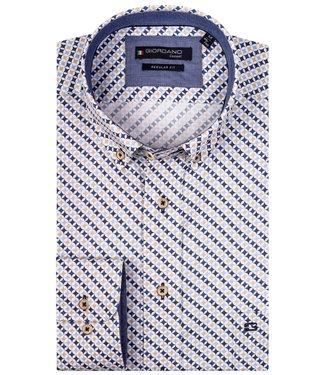 Giordano Regular Fit wit met beige-lichtblauw-donkerblauw-kobaltblauw print