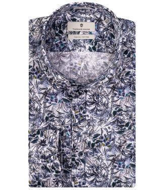 Thomas Maine donkerblauw-wit bloemen en takjes print
