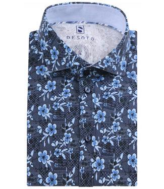Desoto donkerblauw met jeans blauw bloemenprint
