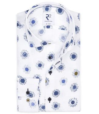 R2 Amsterdam wit met grote geprinte blauw bloemenprint