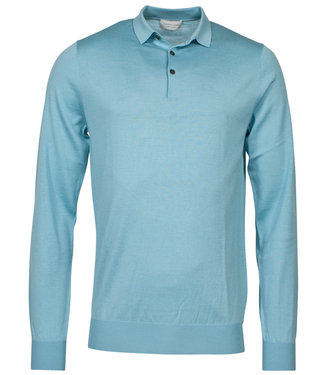 Thomas Maine heren polo lange mouw aqua blauw
