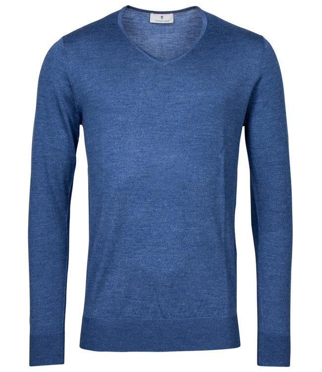 Thomas Maine heren kobaltblauw v-hals trui