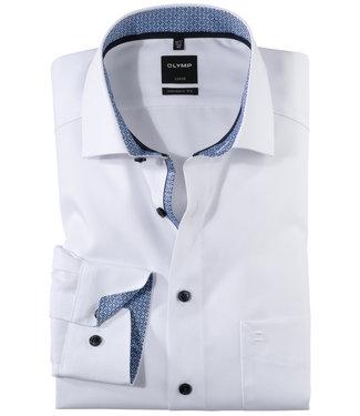 Olymp wit met print contrast en donkerblauwe knopen