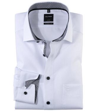 Olymp wit met zwart print contrast en zwarte knopen