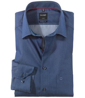 Olymp jeans print met donkerblauwe knopen