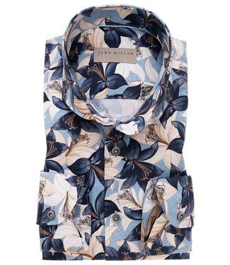 John Miller wit-beige-lichtblauw-donkerblauw bloemenprint