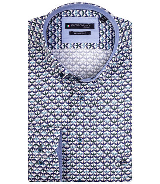 Giordano Regular Fit wit met aqua blauw-donkerblauw-donkergroen vogel print