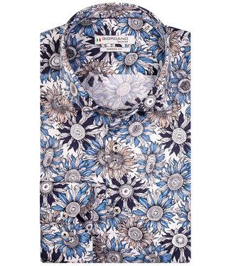 Giordano Tailored zonnebloem print wit-lichtblauw-donkerblauw-beige