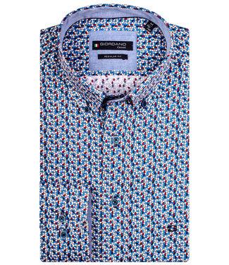 Giordano Regular Fit grafische print wit met blauw-donkerblauw-rood-lichtblauw