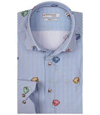 Giordano Tailored lichtblauw-wit met vissen die koptelefoons op hebben print