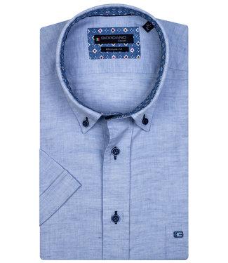 Giordano Regular Fit lichtblauw met donkerblauwe knopen