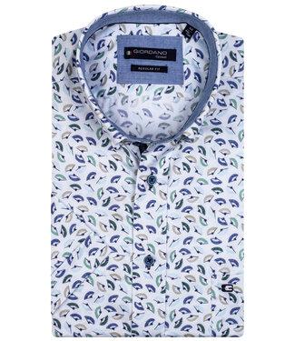 Giordano Regular Fit wit met blauw-groen-aqua blauw-donkerblauw waaier print