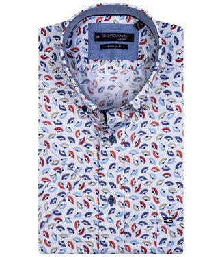 Giordano Regular Fit wit met blauw-lichtblauw-beige-rood waaier print