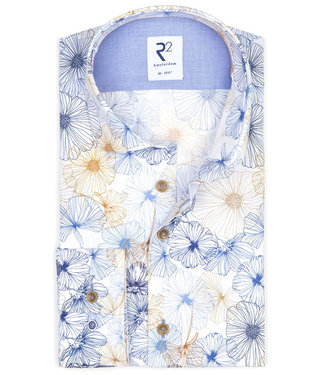 R2 Amsterdam heren overhemd wit met grafische bloemenprint