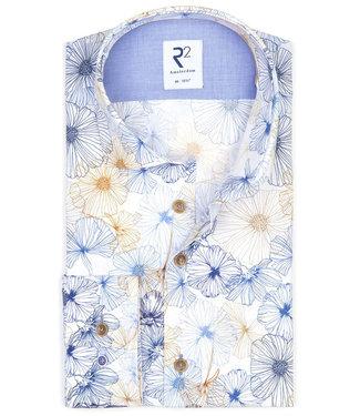 R2 Amsterdam wit met grafische bloemenprint beige-lichtblauw-donkerblauw
