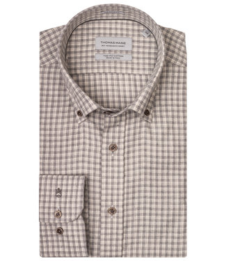 Thomas Maine tailored fit ecru-beige ruitje met bruine knopen